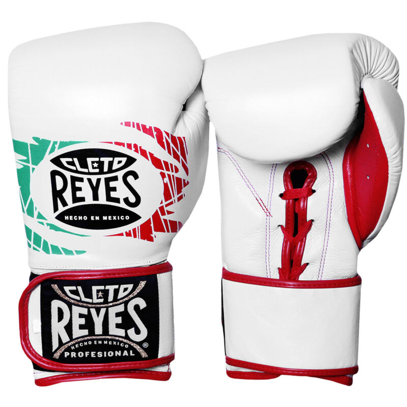 Cleto Reyes Lace Up Hook and Loop Hybrid Boxing Gloves - Mexican Flag