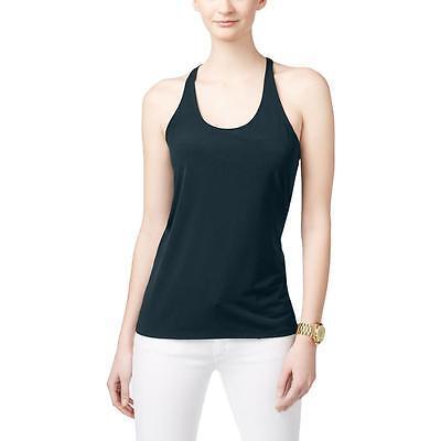 MICHAEL Michael Kors Women Blue Navy Matte Jersey Sleeveless Halter Chain Top