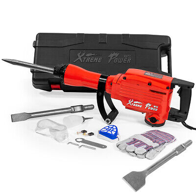 2200w Electric Demolition Jack Hammer Scraping Point Bull Chisel Set W Case