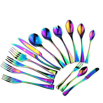 1p 18/10 Stainless Steel Service Flatware Set Rainbow Kitchen Silverware Set 10 Stainless Steel Flatware Set