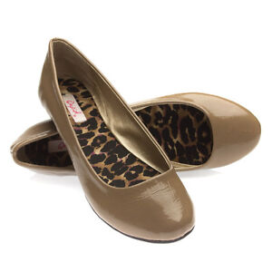 Qupid-Shoes-Round-Toe-Brown-Crinkle-Patent-Leather-Ballerina-Ballet-Flats-US-7