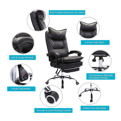 Reclining Executive Chair High Back Office Computer Chair Ergonomic W Footrest