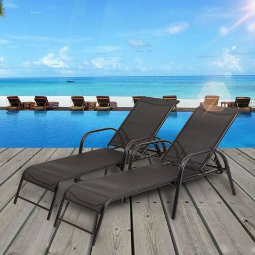 2Pcs Outdoor Pool Side Recliner Chaise Breathable Fabric Lou