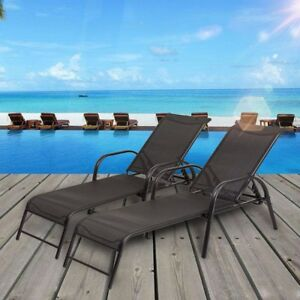 Set Of 2 Outdoor Patio Adjustable Pool Recliner Chaise Lounge Chairs  Furniture