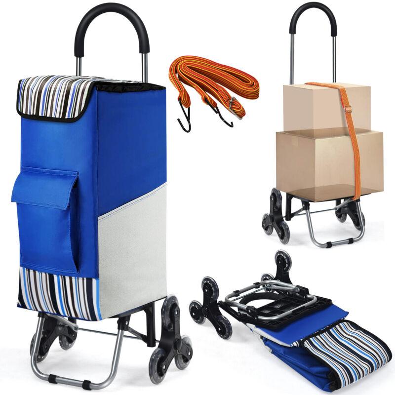 Costway Folding Shopping Cart Stair Climbing Dolly w/  Bag & Bungee Cord