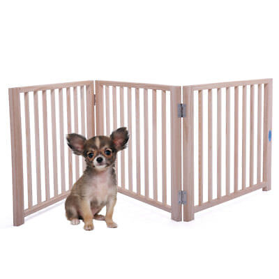 "17.5"" Folding Solid Wooden Pet Dog Fence Playpen Gate 3 Panel Standing Indoor"