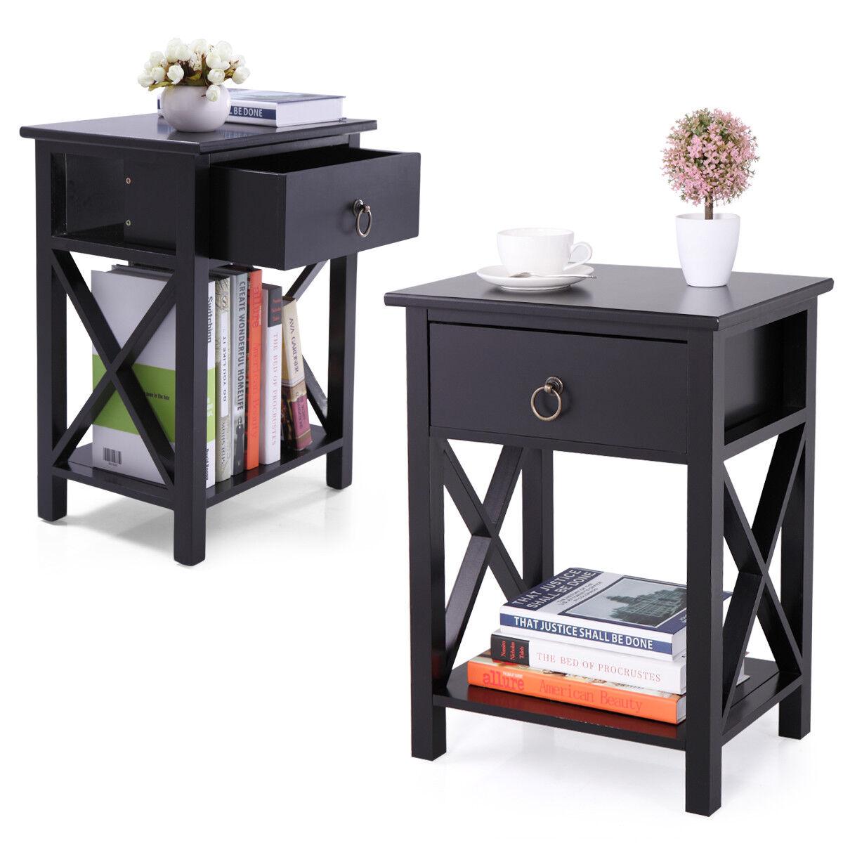 Set of 2 Finish Nightstand Bedside Table Shelf Bedroom Black