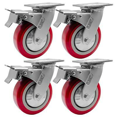 4 Pack 6 Heavy Duty Caster Wheel Swivel Plate Maroon Pu With Brake Wheels