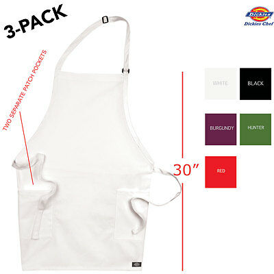 3-pack Dickies Chef Adjustable Bib Apron 30 Long With 2 Pockets Dc513