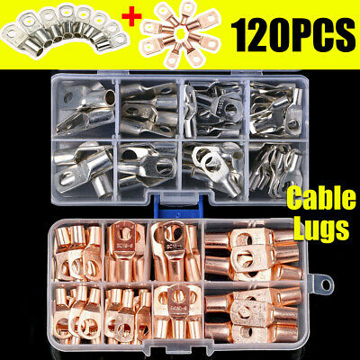 60/120x Copper Tube Terminals Lug Ring Battery Welding Cable Crimp Connector Kit