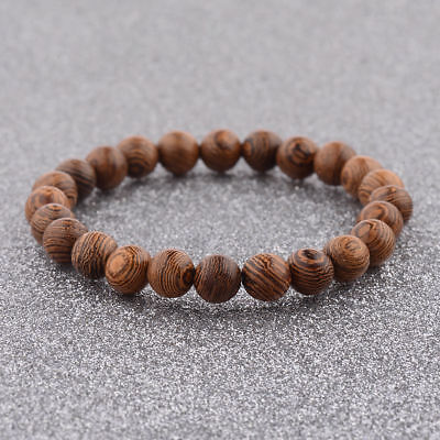 Sandalwood Beaded Gemstone Round Beads Stretchy Men Charm Bracelets Bangle Gift - Wooden Bangles