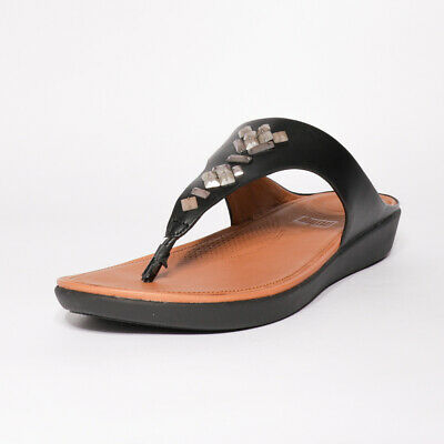 Womens Fitflop Banda Leather Black Toe Thong Sandals (TGF30) RRP £84.99