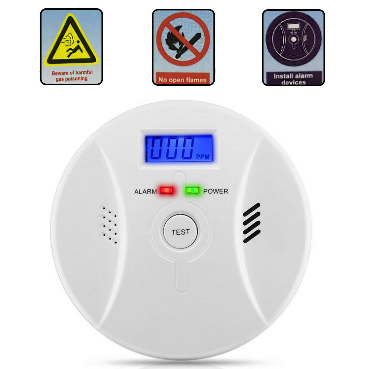 CO Carbon Monoxide Alarm Detector Home Kitchen Safety With V