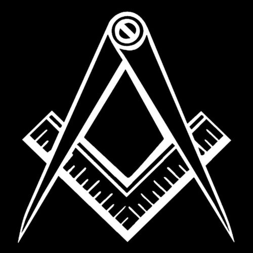 Clean Square & Compass Masonic Vinyl Decal - White 6 Inch