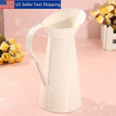 White Vintage Shabby Chic Cream Vase Enamel Pitcher Jug Pot Tall Metal Wedding