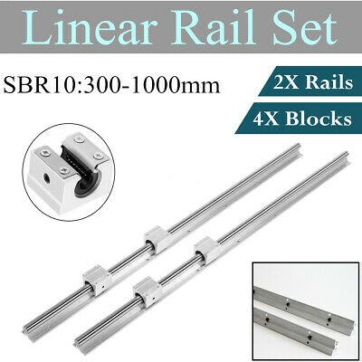 2x Sbr10 300-1000mm Linear Rail Slide Guide 4x Sbr10uu 10mm Slide Block Bearing