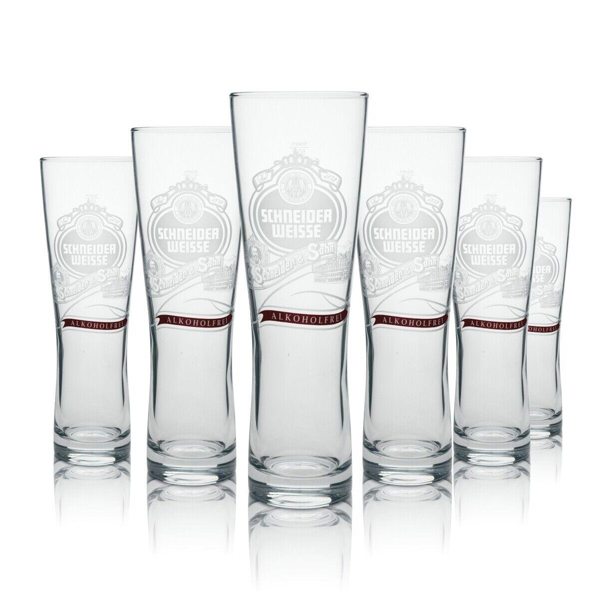 6x Schneider Weisse Bier Glas Weißbier Alkoholfrei Hefe Weizen 0,5l Sahm Gläser