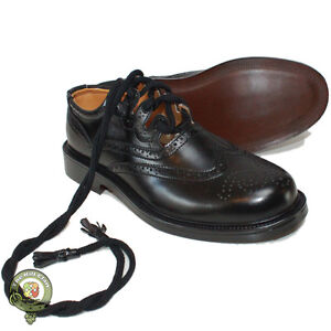 Ghillie-Brogues-Kilt-Shoes-Genuine-Black-Leather-Ghillie-Brogues-Size-7-11