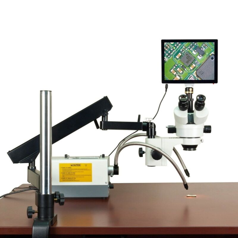 2.1x-270x 5mp Touchscreen Zoom Articulating Microscope 150w Ring & Dual Lights
