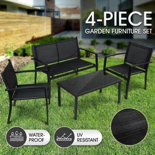 Garden Furniture - Garden Furniture Outdoor Chairs Table Set 4 PCS Patio Textilene Fabric Setting