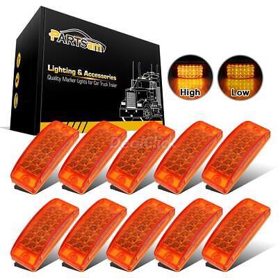 "10x 6"" Rectangular Side Marker / Turn LED Sealed Trailer Lights 21 LED Amber"