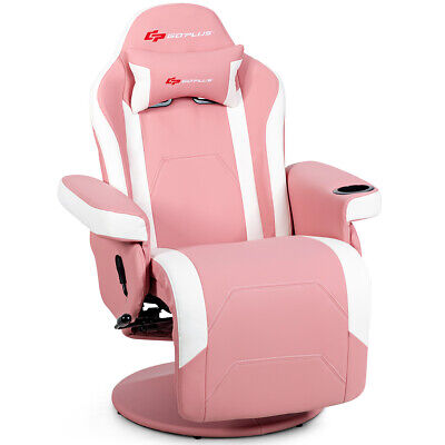 Massage Gaming Recliner Reclining Racing Chair Swivel Wcup Holder Pillow Pink