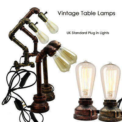 Vintage Industrial Rustic Retro Style Pipe Light Steampunk Desk Table Lamp Light
