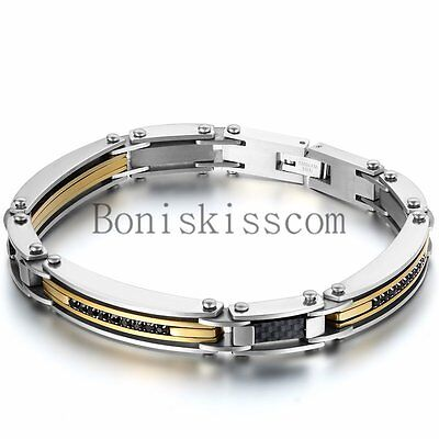 Silver Gold Two Tone Stainless Steel Men's Link Bracelet Wristband Cuff Bangle (Cuff Two Tone Bracelet)
