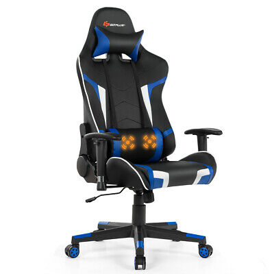 Massage Gaming Chair Reclining Swivel Racing Office Chair Wlumbar Support