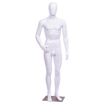 Male Mannequin Full Body Dress Form Display Plastic Egg Head High Gloss White