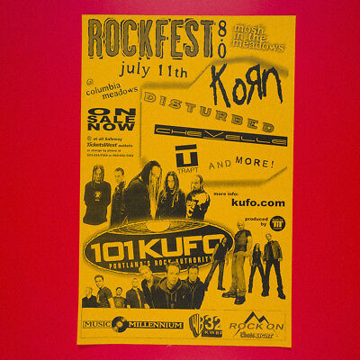 KORN + DISTURBED & MORE 2002 Original 11x17 Poster. KUFO ROCKFEST 8.0
