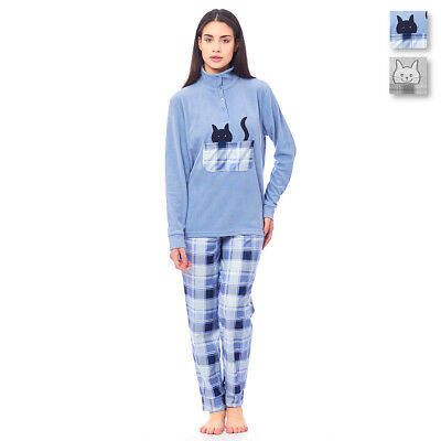 Schlafanzug Frau Katze Von Cippi Microfleece 2901-W18 - Frau Katze Anzug