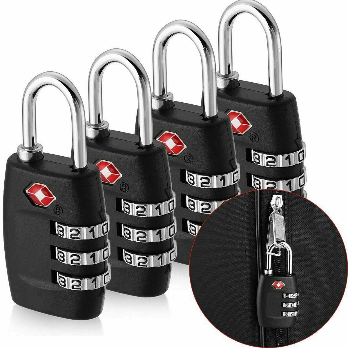 4x TSA Approved Luggage Lock Travel 3 Digit Combination Suitcase Padlock Reset Locks
