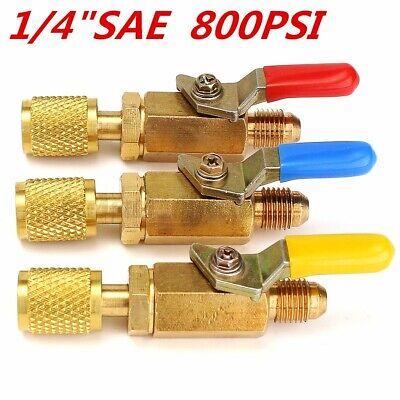 3x R410a 14 Sae Refrigerant Straight Ball Valves For Ac Charging Hoses