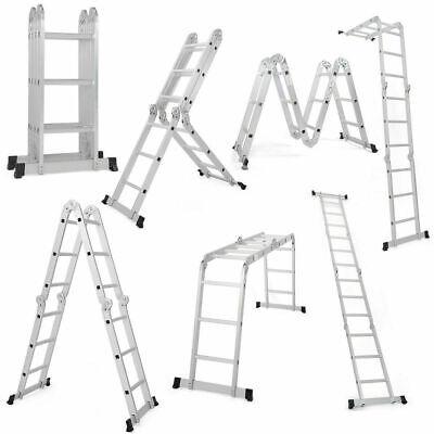 Heavy Duty Aluminum 12.5 Feet 12 Step Scaffold Ladder 330lb Multi Purpose Extend