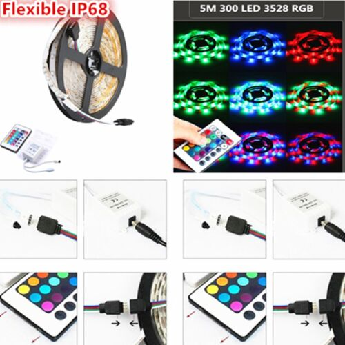 5M 300 SMD 3528 Waterproof Flexible RGB LED Strip Lighting + Receiver+ 24 Key IR