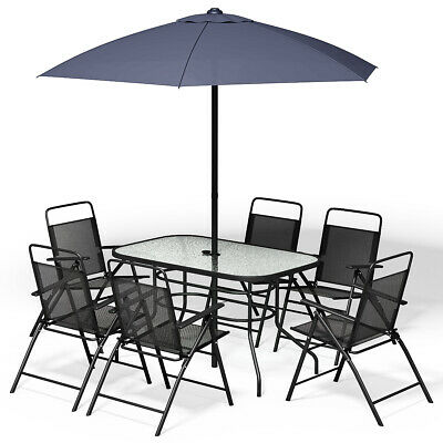 Garden Furniture - 8PCS Patio Garden Set Furniture 6 Folding Chairs Table with Umbrella Gray New