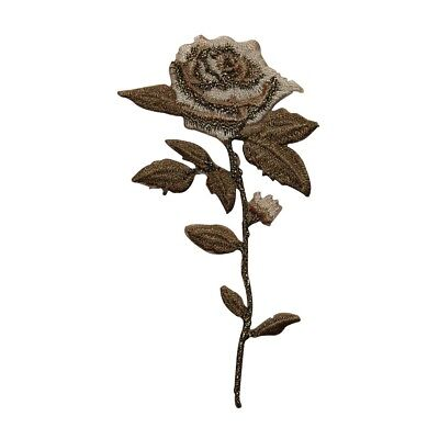 ID 6852 Brown Wilting Rose Patch Garden Dried Flower Embroidered IronOn Applique - Wilting Flower