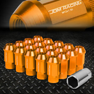 JDM OPEN-END ALUMINUM ORANGE WHEEL LUG NUTS SET+ADAPTER M12X1.5 25MMx44MM TALL