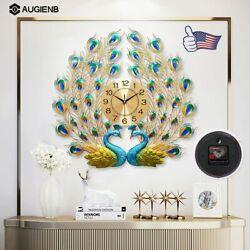 AUGIENB 3D Peacock Wall Clock Large Accurate Mute Metal Art Creative   KJD