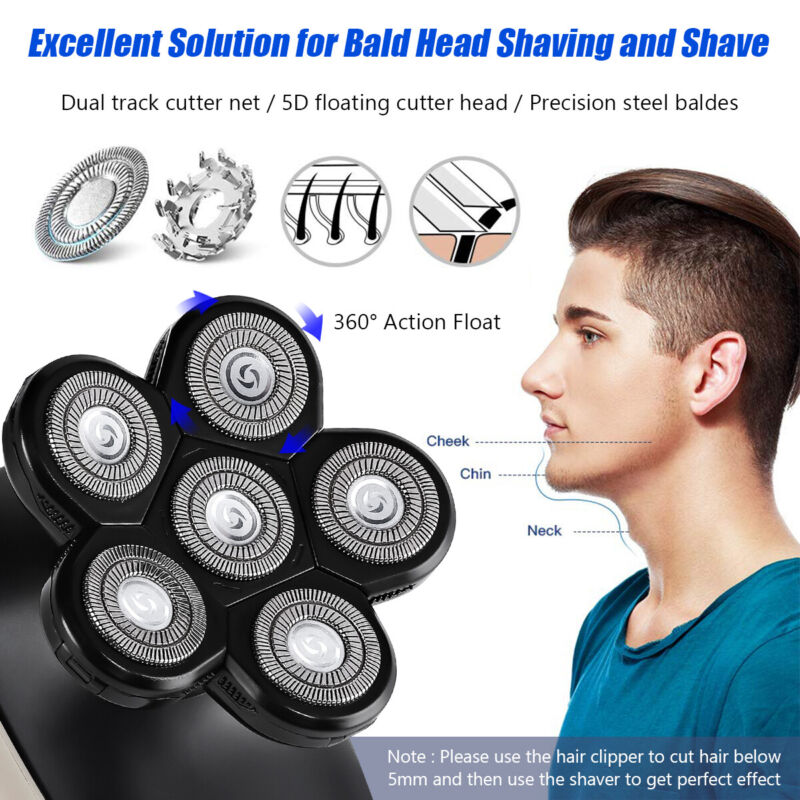 Electric 5-IN-1 5D Bald Head Shaver Multifunction Hair Trimmer Clipper Razor LGO - $15.18