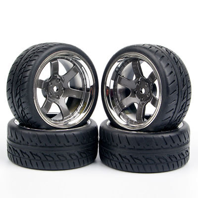 4X 12mm Hex run Flat Tires&Wheels For HSP HPI RC 1:10 on Road Racing Car PP0038