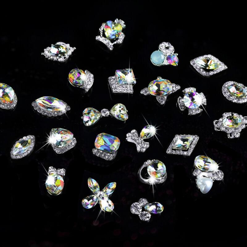 5 10pcs Nails Jewelry Crystal Ab 3d Glitter Nail Art Rhinestones Arc Metal Base