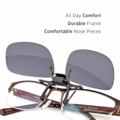 NEW LARGE POLARIZED LENS GLARE BLOCK CLIP ON FLIP UP SUNGLASSES GLASSES DRIVING Clothing, Shoes & Accessories
