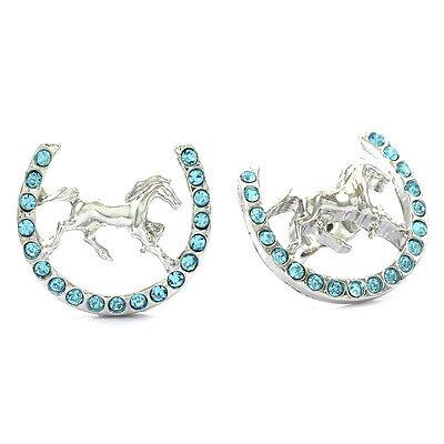 Horse Mustang Pony Horseshoe Stud Post Earrings Good Luck Charm Western Cowboy a