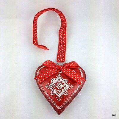 Corazón Chapa Rojo con Decoración Lazo Y Banda para Colgar
