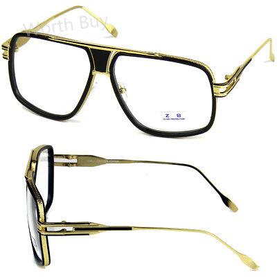 Black Gold DMC Square Gazelle Hip Hop Clear Lens Frame Glasses Fashion (Gazelles Glasses)