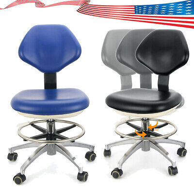 Mobile Dental Dentist Chair Unit Stool Adjustable Height Hydraulic Rolling Lab