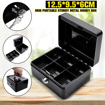 Metal Locking Cash Box Money Small Steel Lock Security Safe Storage Check Black