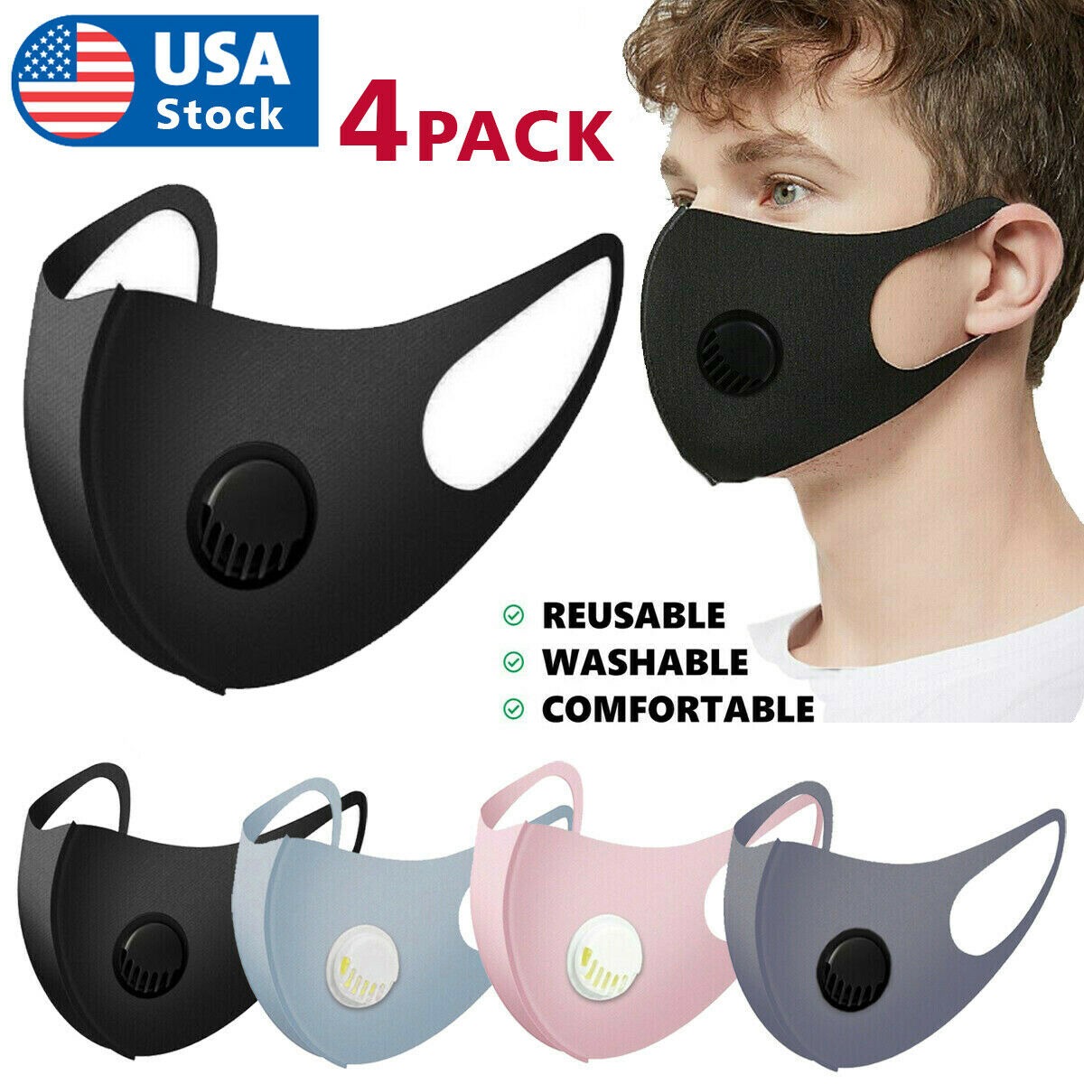 4PCS Face Mask Reusable Washable Adult Cloth Breathable With Breathing Valve Accessories